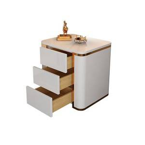 YF-H-210 Modern Luxury White & Gold 3 Drawers Bedroom Nightstand Square Bedside Table