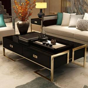YF-H-901 TV Stand 3-Drawer Media Stand with Gold Frame & Tempered Glass Top