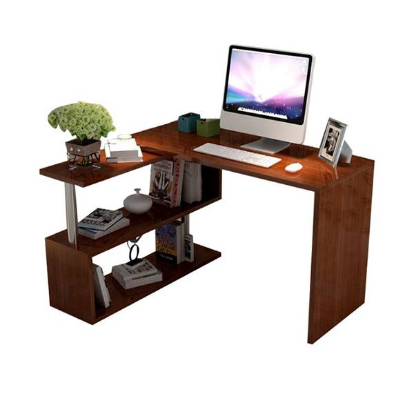 Comtemporary stylish home office computer desk l shape with open shelf Featured Image