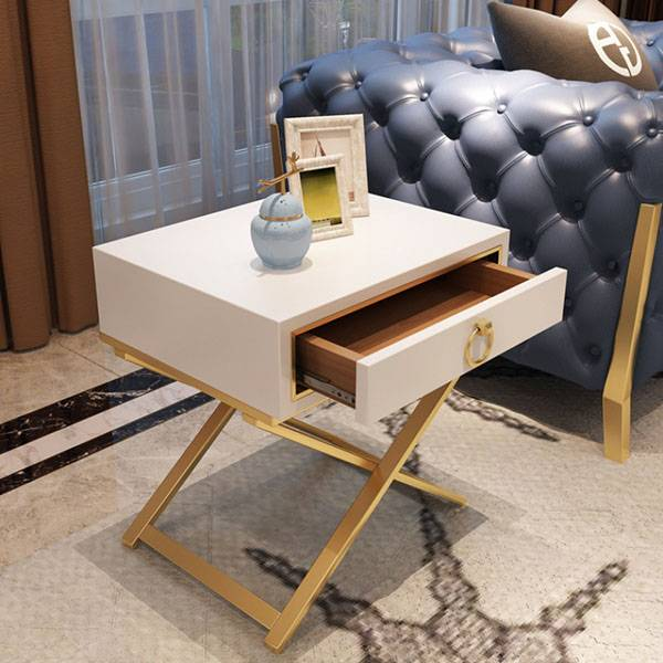 YF-H-206 Side Table with Self Closing Drawer Lacquer X Base Brass Finished Stainless Steel Featured Image