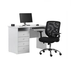 White melamine home office computer desk with 4 drawers for home furniture or office furniture