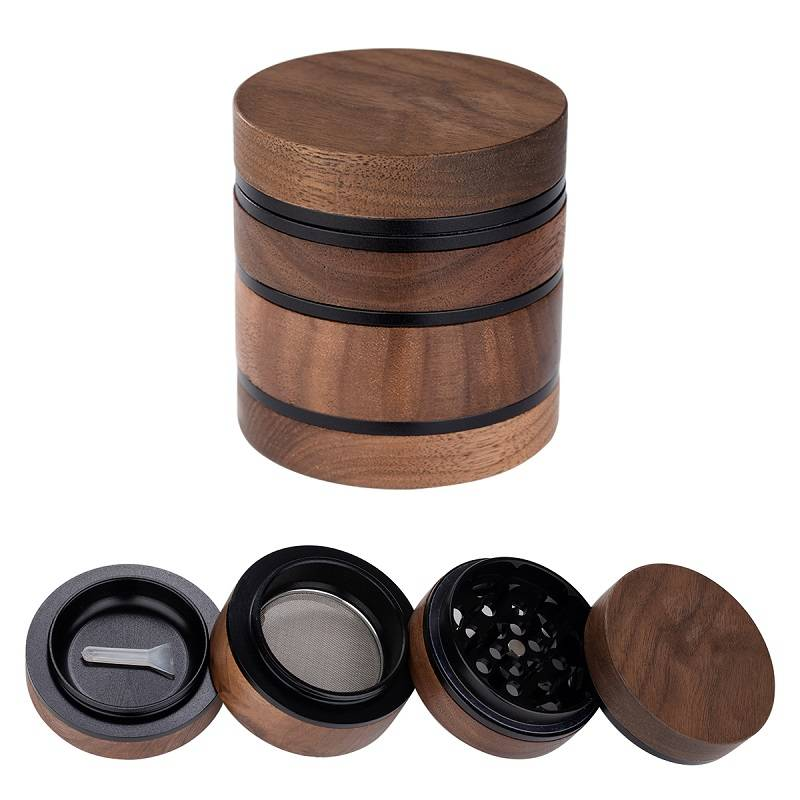 63MM/2.5 Inch Herb Grinder 4 Piece Wooden Grinder with Pollen Catcher