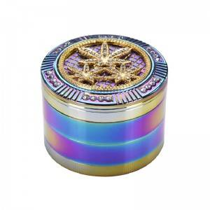 63MM/2.5inch Herb Grinder Rainbow Color 4 Piece Zinc Alloy Spice Grinder