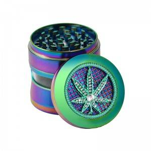 63MM/2.5inch Rainbow Zinc Alloy Spice Herb Grinder with Clean Windows