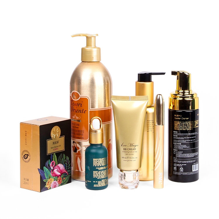 Golden surface luxury cosmetic skin care bottles packaging