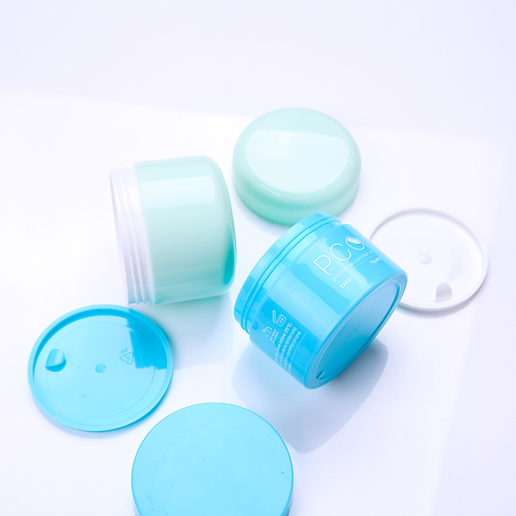 Custom 100 ml single/double wall cosmetic jar blue color
