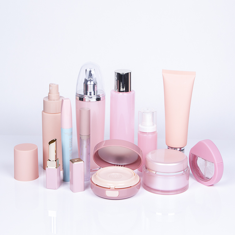 Skin color plastic cosmetic bottle, pink cosmetic jar, pink cosmetic packaging series