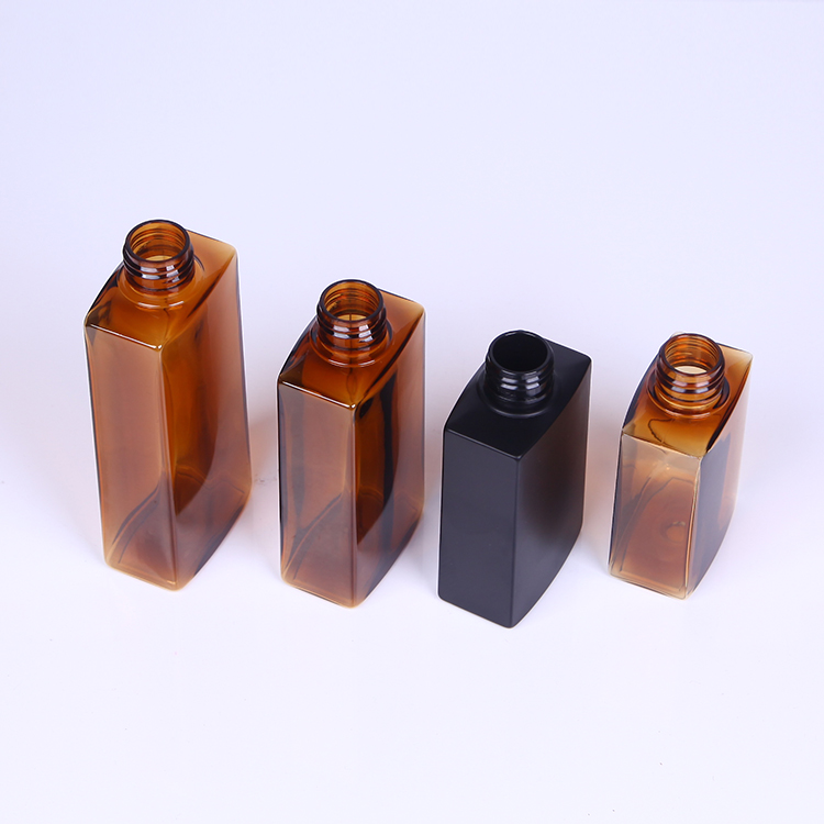 100ML 120ML 150ML 200ML squared amber bottles, rectangular plastic bottle