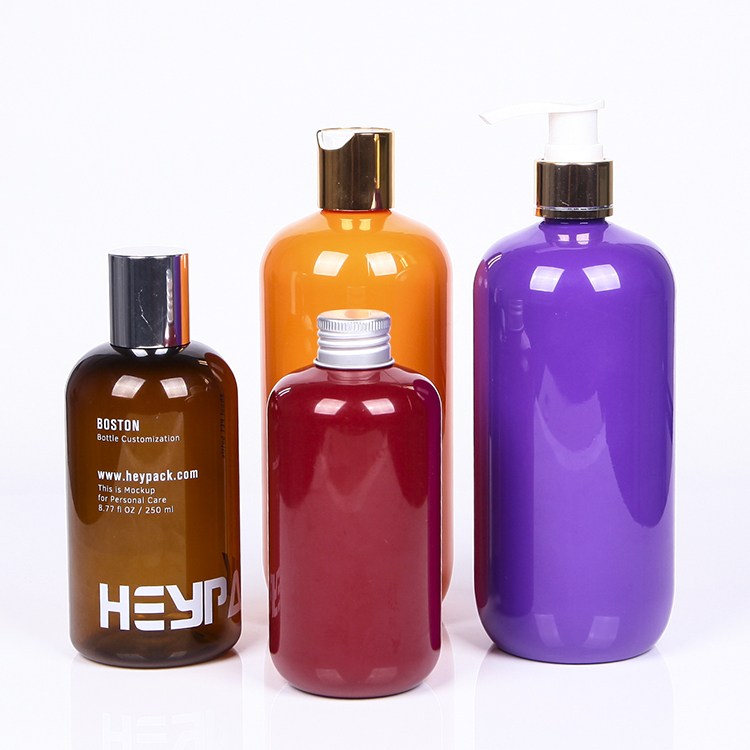 Purple orange red color empty PET plastic packaging bottle