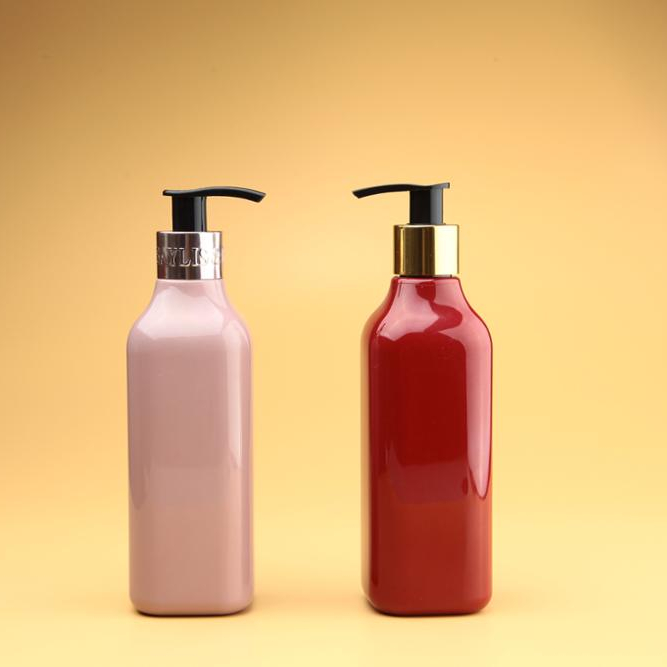 200ml refillable shampoo square bottle, plastic bottle with pump dispenser