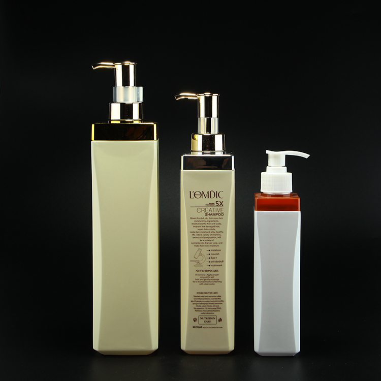 Metallic silver & gold collar 350ml 500ml 750ml HDPE plastic shampoo bottle