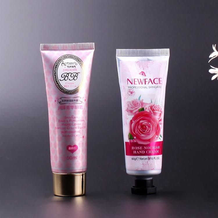 Octagon shape cap Rose hand cream aluminum cosmetic tube