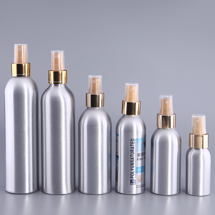 15-750ml aluminum spray bottle, cosmetic container set, aluminum bottle with mist spray cap