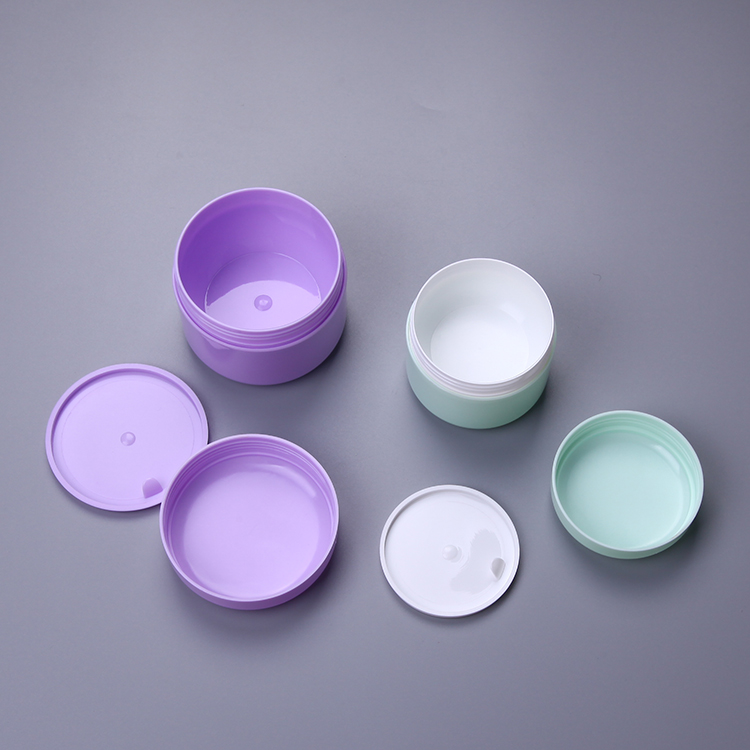 Smooth surface ODM soild blue & purple color PP plastic round top double wall face Moisturizing Soft cream jar