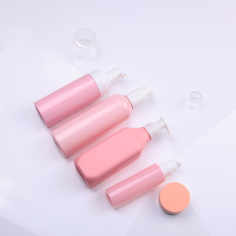 Pink 60ml 150ml 200ml 250ml custom made skincare bottles packaging set