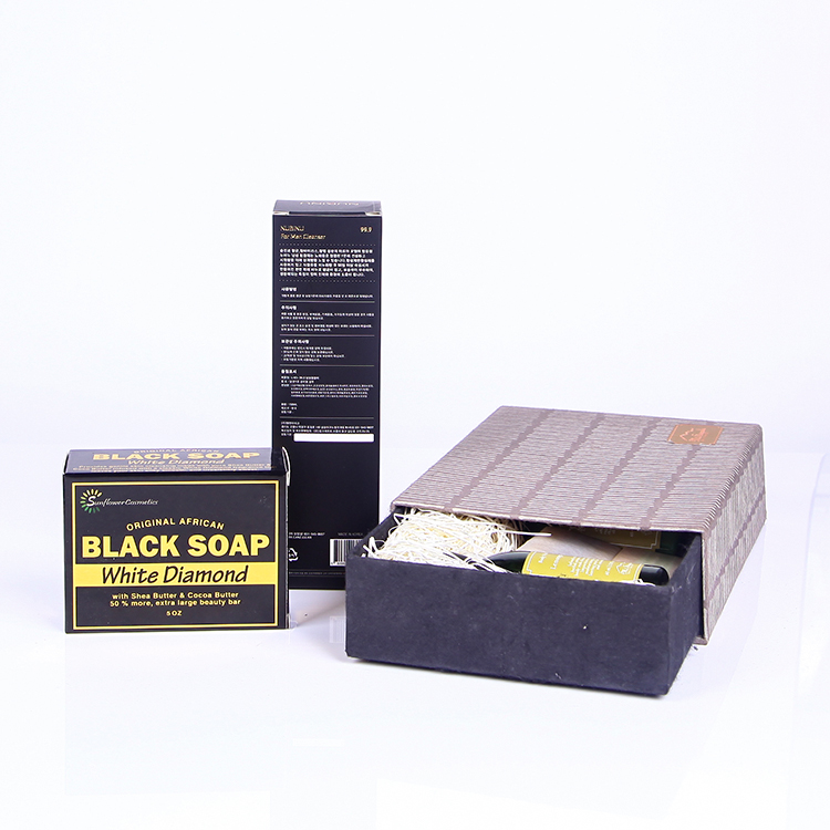 Gold stamping kraft matte black soap box