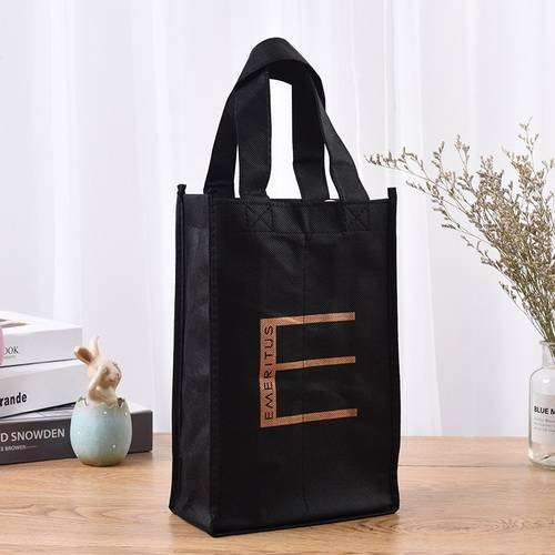 BT-0076 Custom printed 80 gsm non woven 2 bottle wine bag