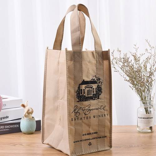 BT-0077 promotional logo non-woven 4 bottle wine tote bags