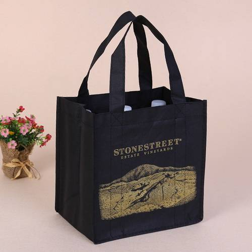 BT-0078 Promotional Non-Woven 6 Bottle Wine Tote Bags