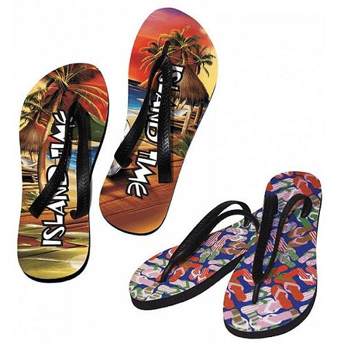 AC-0034 Full color printed flip flops with debossed logo