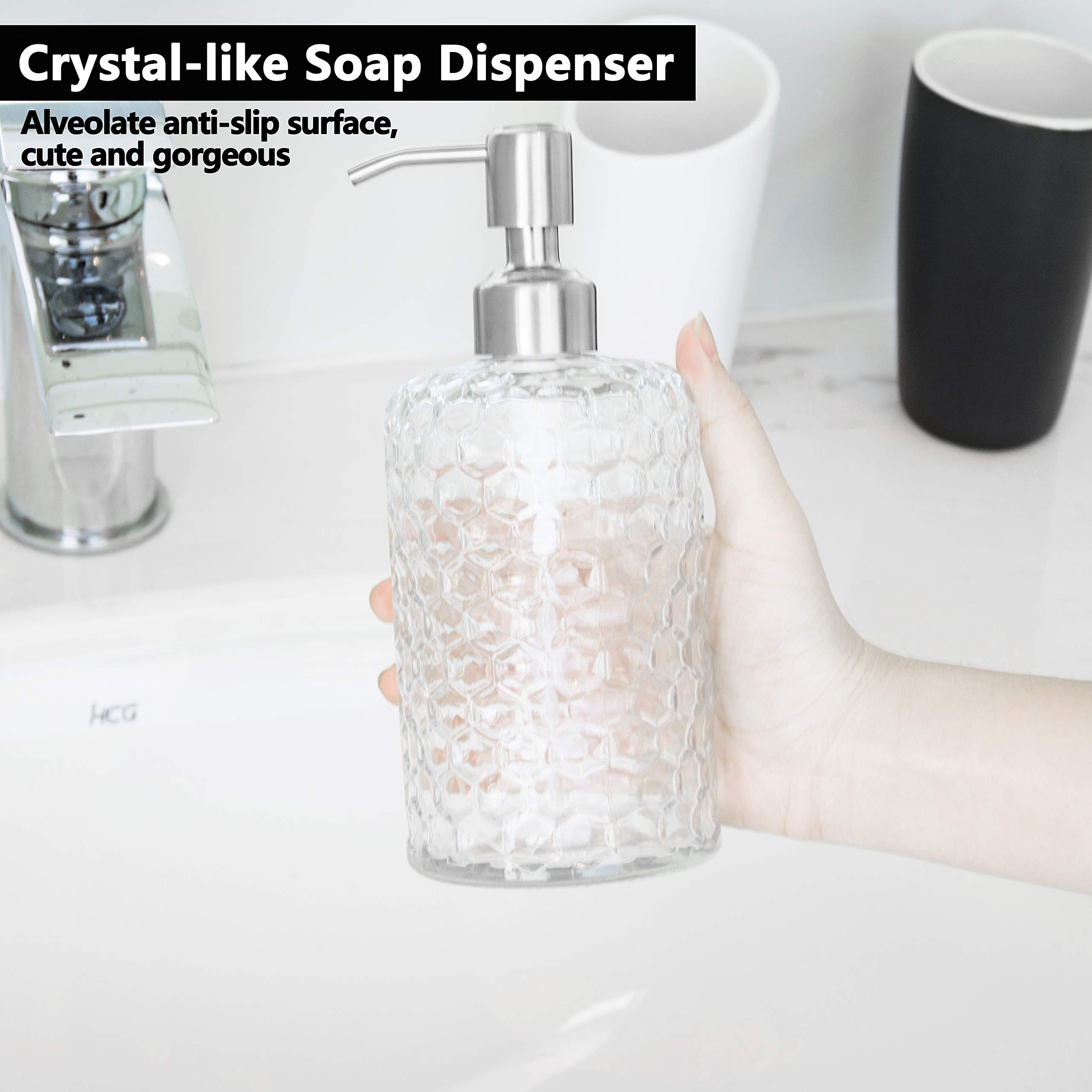 16 Oz Clear Glass Soap Dispenser with Brushed Nickel Pump Featured Image