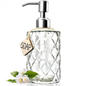 Diamond Design 12 Oz Glass Soap Dispenser