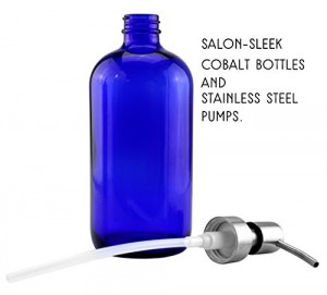 Cobalt blue 16 oz Boston round bottle and brushed stainless steel pump top