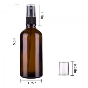 4oz 120ml Amber Glass Boston Bottle with Sprayer