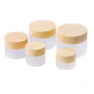 30g Environmental Bamboo Lid Frosted Glass Cream Jar
