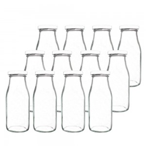 11oz Glass Milk Bottles with Reusable Metal Twist Lid and Straw