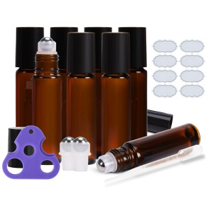 10ml Amber Glass Roll on Bottle with Stainless Steel Roll Ball