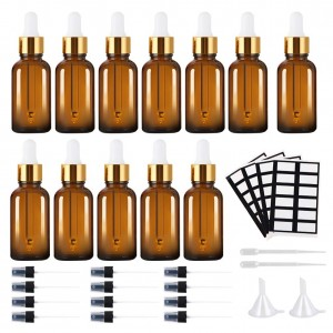 Premium Quality 30ml 1oz Amber Glass Essential Oil Bottle with Dropper