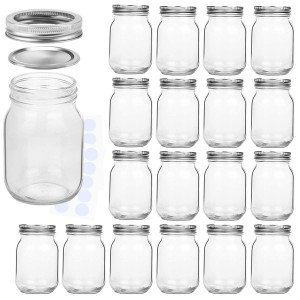 High Quality 16oz Glass Mason Jar with Fission Silver Lid