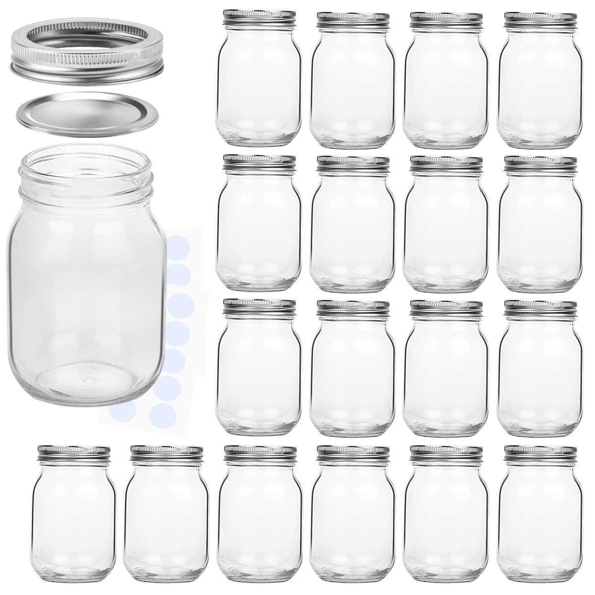 High Quality 16oz Glass Mason Jar with Fission Silver Lid Featured Image