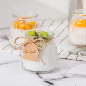 4 oz 100ml Stripe Clear Glass Pudding Jar with Lid