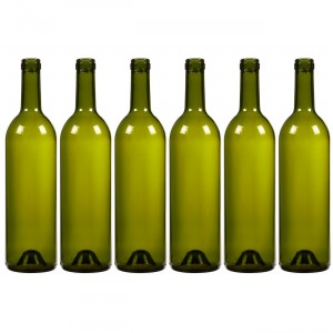 750 ml Green Glass Bordeaux wine bottle