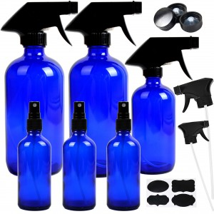 16 oz 500ml Cobalt Blue Glass Boston Bottle with Plastic Pump