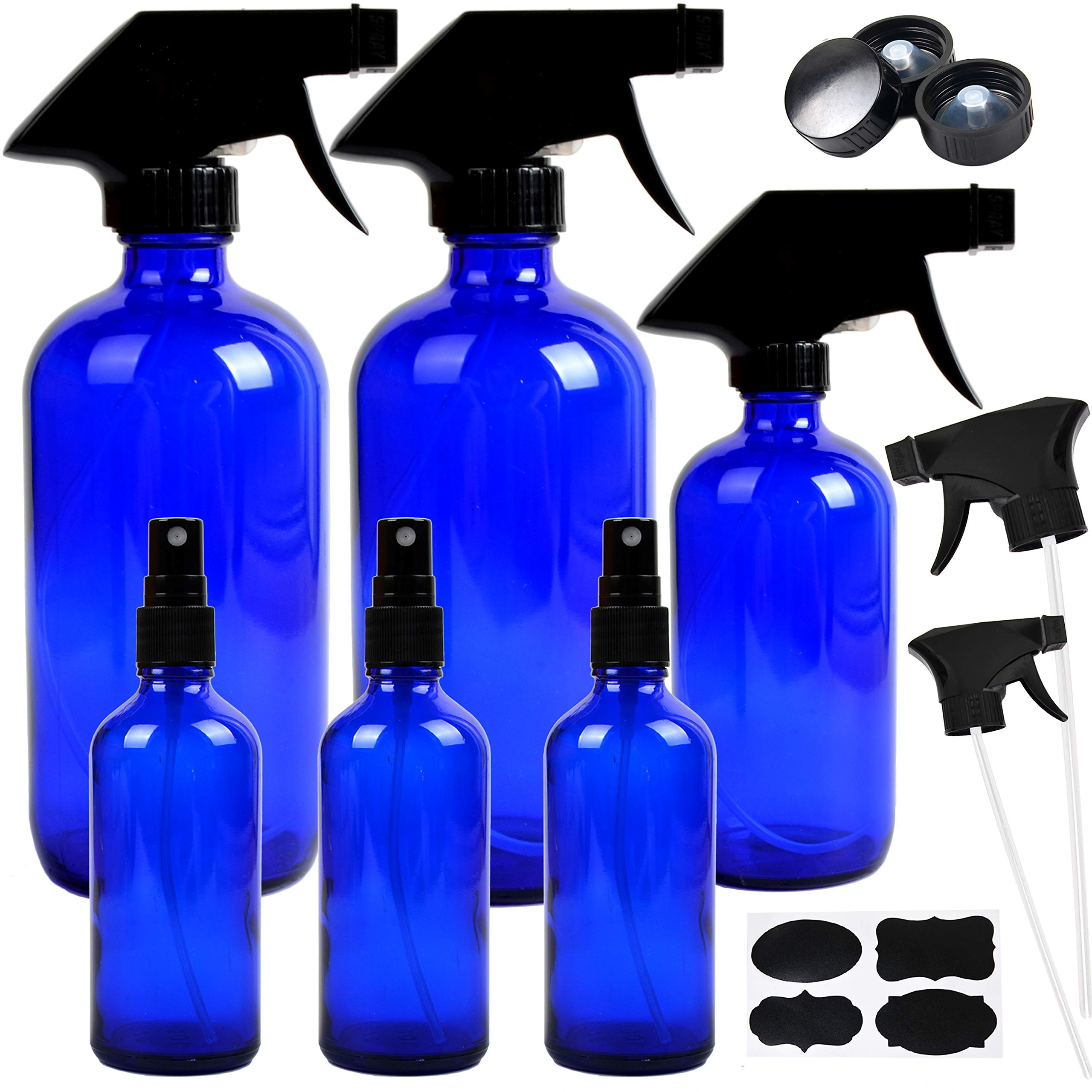 16 oz 500ml Cobalt Blue Glass Boston Bottle with Plastic Pump Featured Image