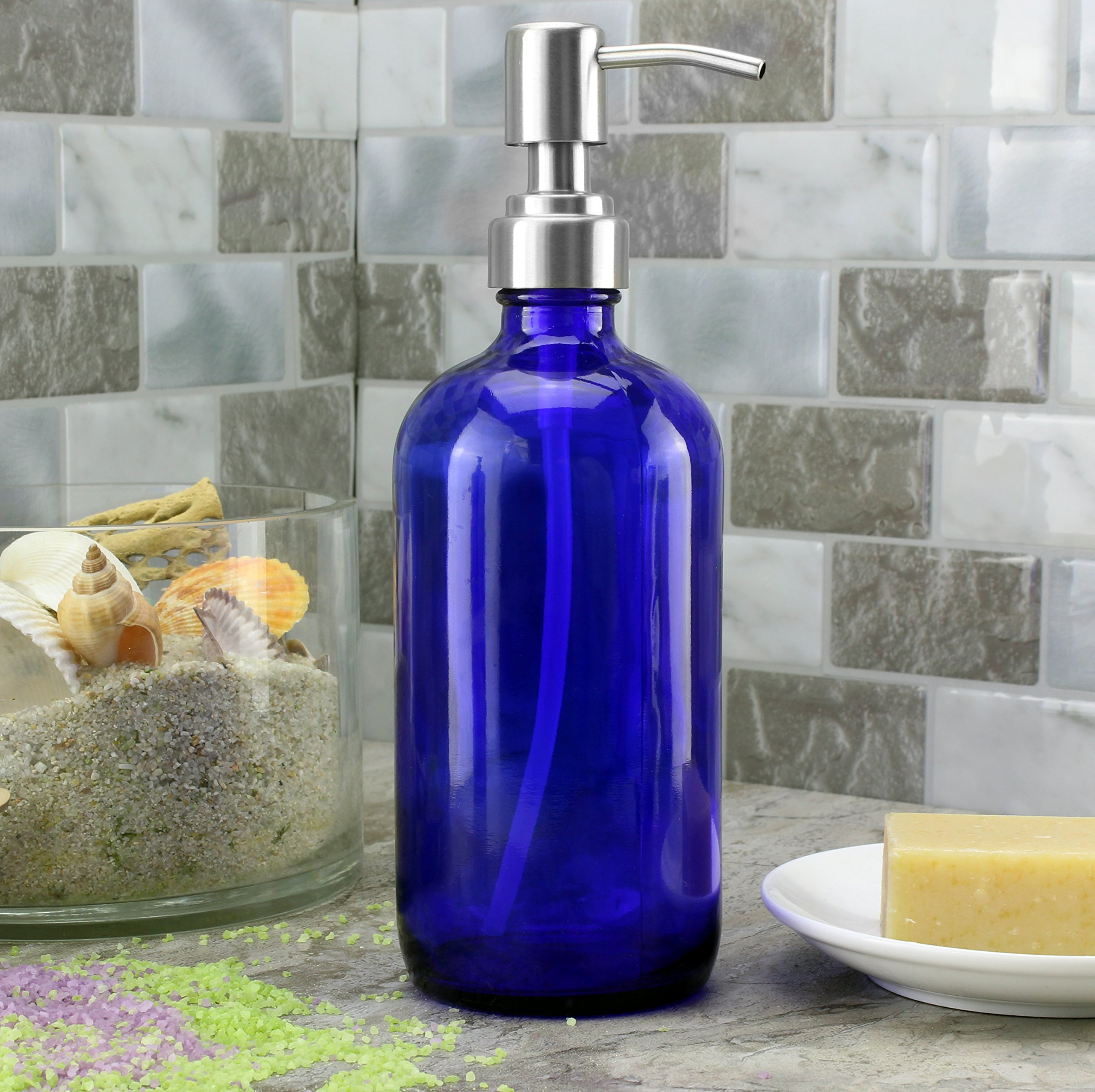 Cobalt blue 16 oz Boston round bottle and brushed stainless steel pump top Featured Image