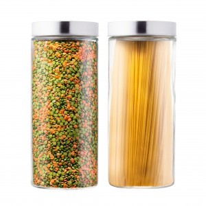 Beautiful Glass Kitchen Canister with Stainless Steel Lid