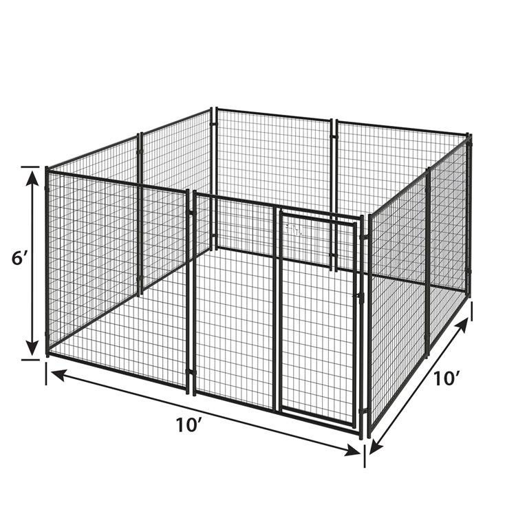 Modular black powder coated steel tube pet crate cages dog boarding kennels