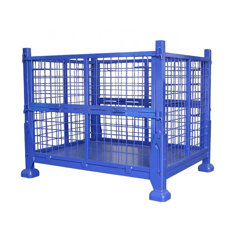 Warehouse Auto Parts Storage Wire Mesh Stackable Folding Metal Cage Container