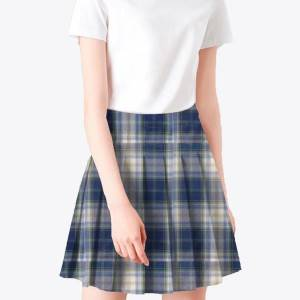 Blue checked school uniform skirt fabric 100% polyester