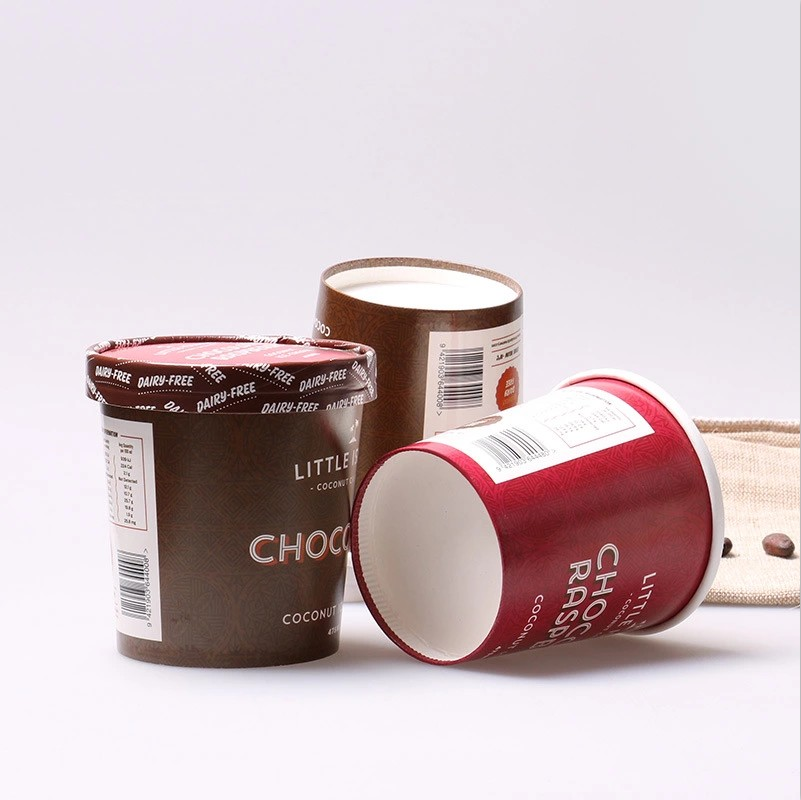 16oz Custom Logo Printing Paper Frozen Yogurt Cup Ice Cream Paper Cup