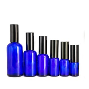 10ml/20ml/30ml/50ml blue amber round cosmetic essential oil dropper bottle with black cap