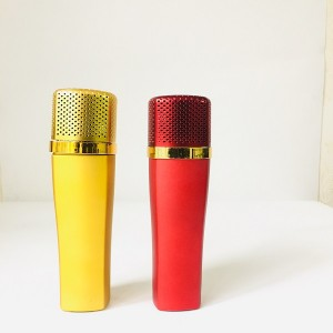 Cosmetic red microphone 100ml perfume glass bottle with aluminum spray cap