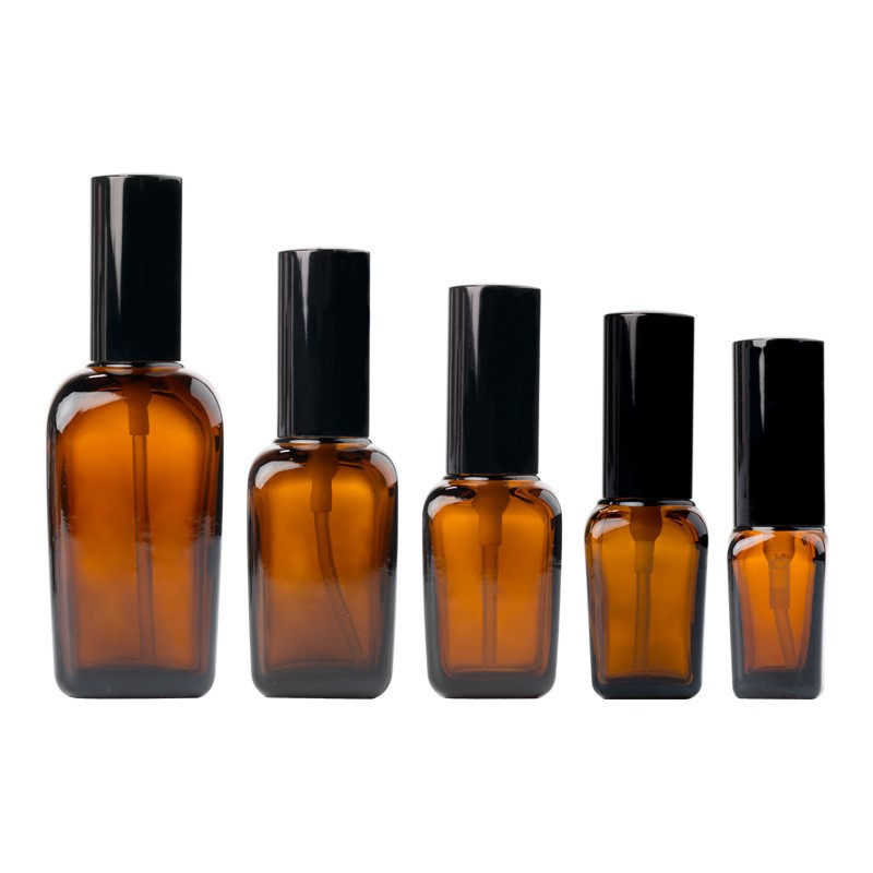 10ml/20ml/30ml/50ml amber square cosmetic essential oil dropper bottle with black lid Featured Image