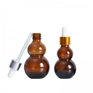 30ml amber light-proof Gourd-shaped skin care essential oil dropper bottle
