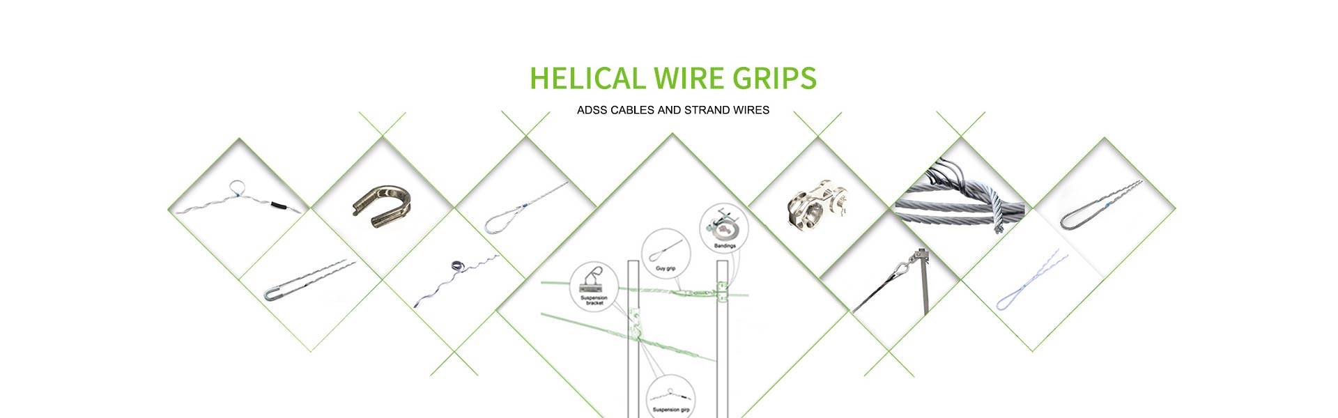 Preformed guy grips, strand wire grips