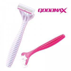 Good quality Triple blade long handle design women disposable razor 3104TL